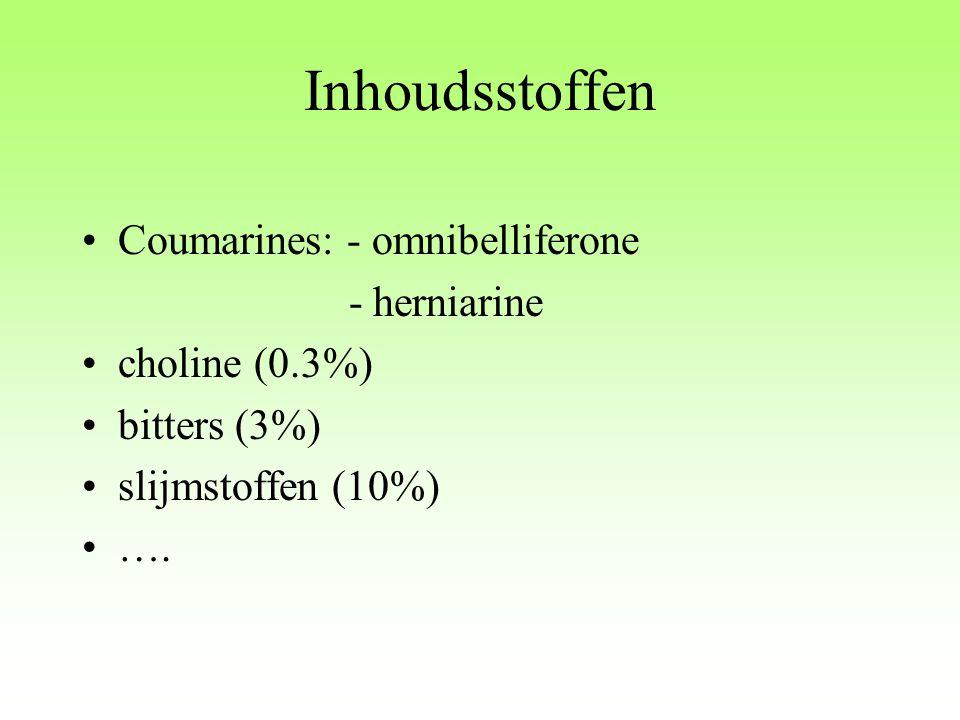 Inhoudsstoffen Coumarines: - omnibelliferone - herniarine