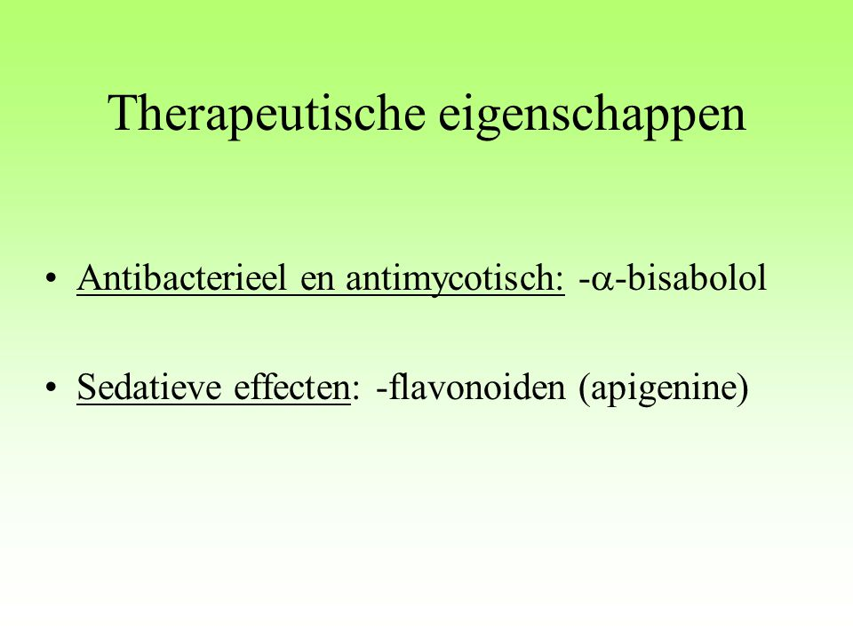 Therapeutische eigenschappen