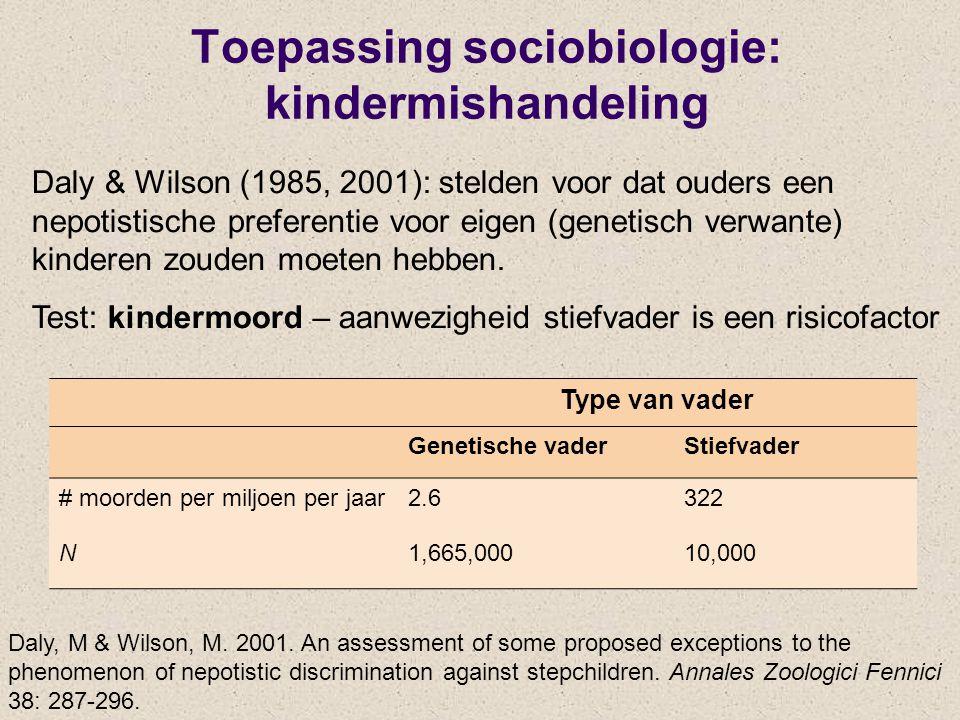 Toepassing sociobiologie: kindermishandeling
