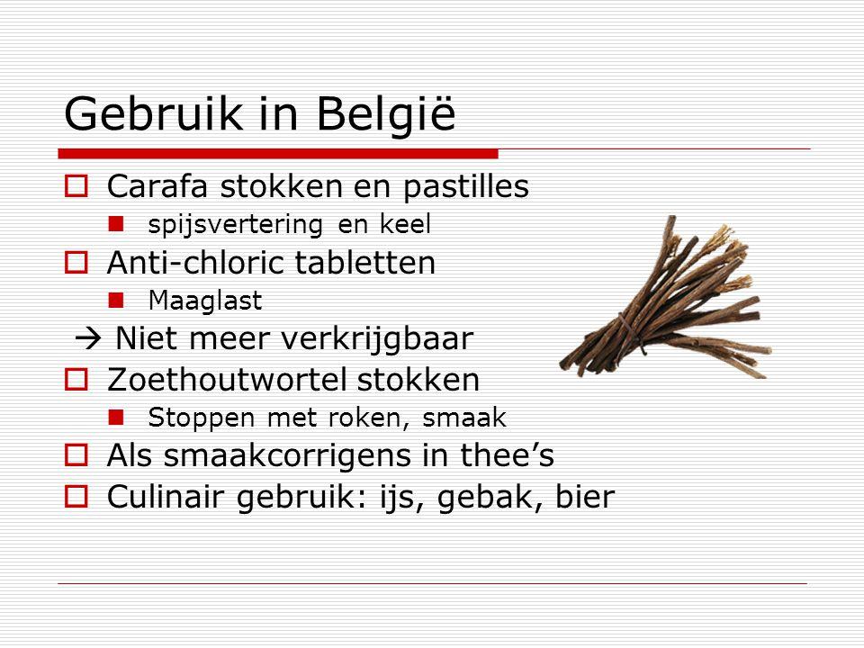 Gebruik in België Carafa stokken en pastilles Anti-chloric tabletten