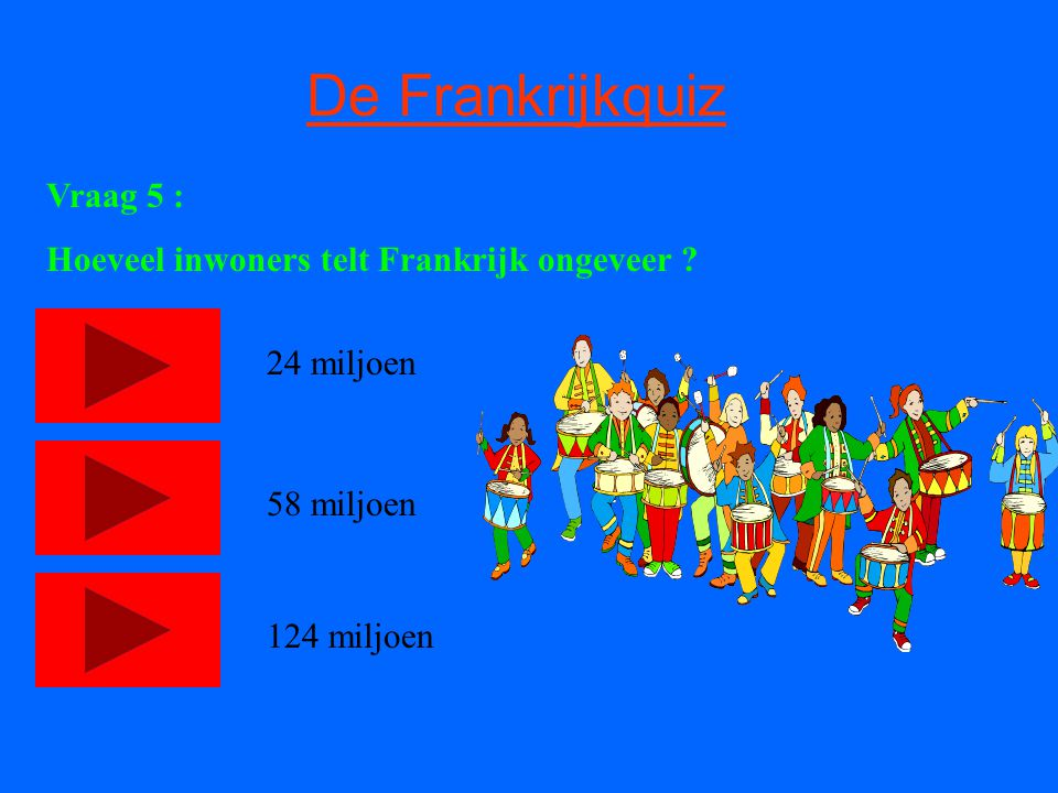 De Frankrijkquiz Vraag 5 : Hoeveel inwoners telt Frankrijk ongeveer