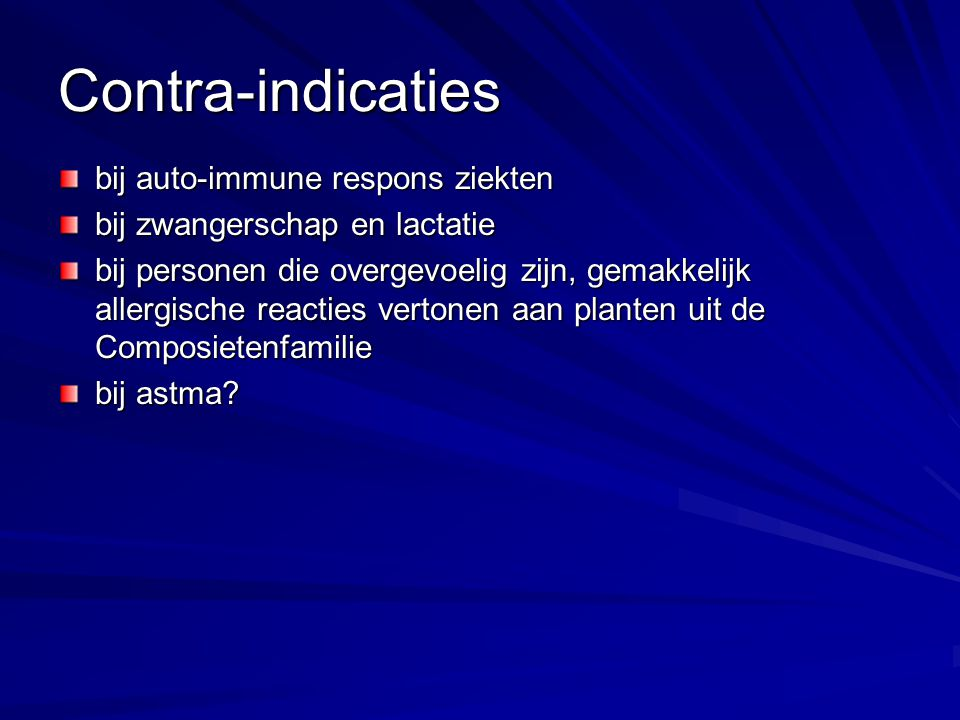 Contra-indicaties bij auto-immune respons ziekten