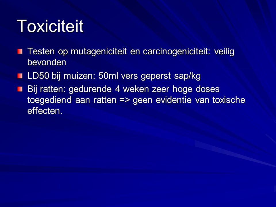 Toxiciteit Testen op mutageniciteit en carcinogeniciteit: veilig bevonden. LD50 bij muizen: 50ml vers geperst sap/kg.