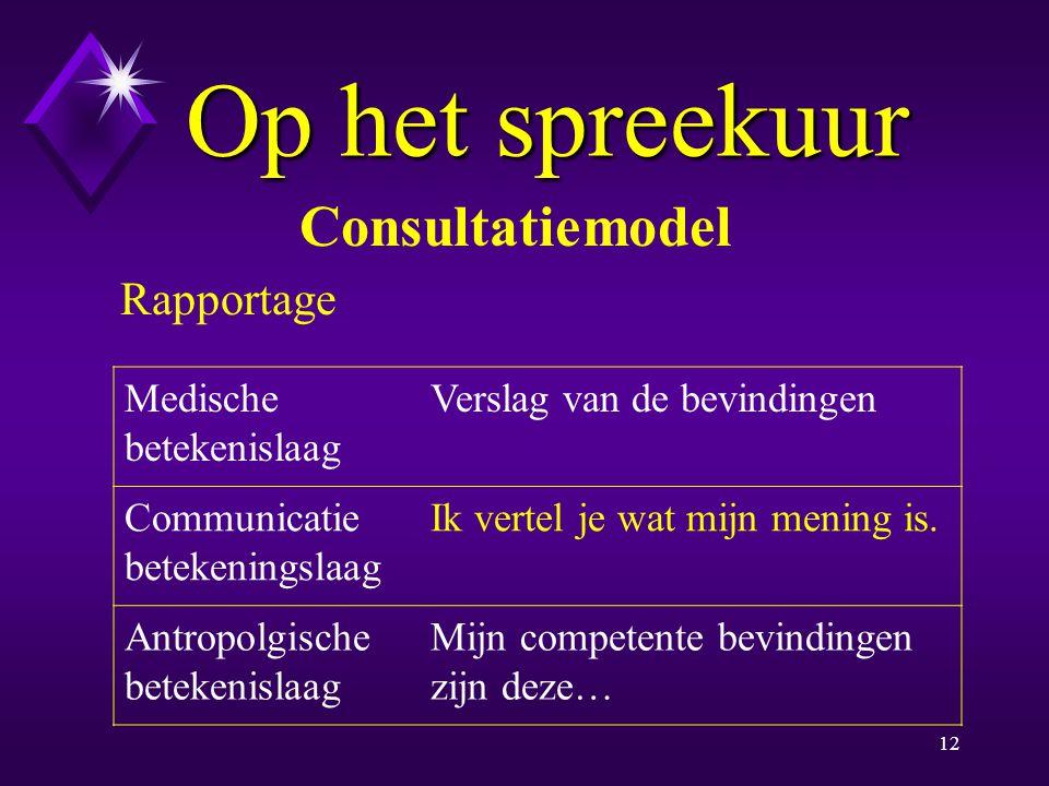 Op het spreekuur Consultatiemodel Rapportage Medische betekenislaag