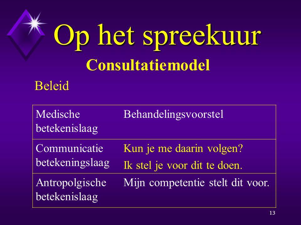 Op het spreekuur Consultatiemodel Beleid Medische betekenislaag