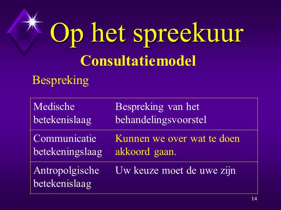 Op het spreekuur Consultatiemodel Bespreking Medische betekenislaag