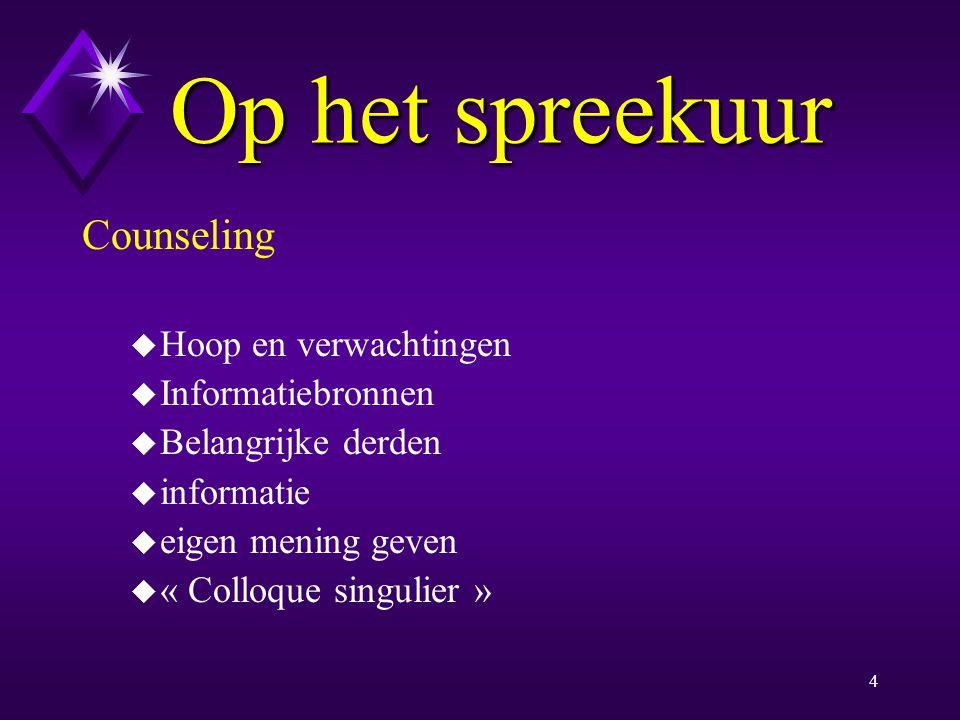 Op het spreekuur Counseling Hoop en verwachtingen Informatiebronnen