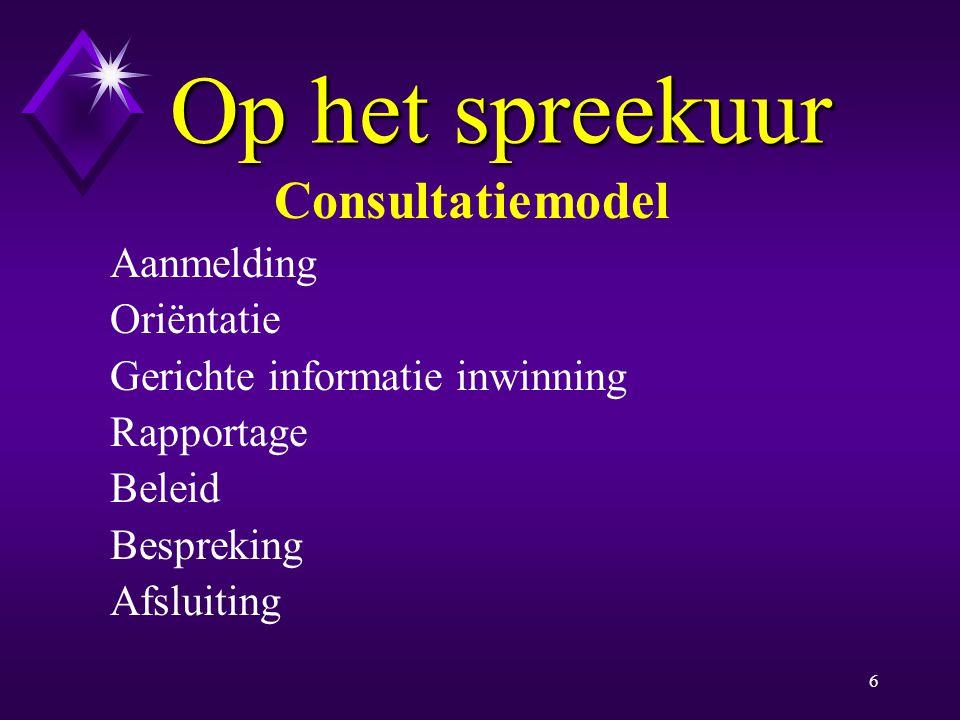 Op het spreekuur Consultatiemodel Aanmelding Oriëntatie