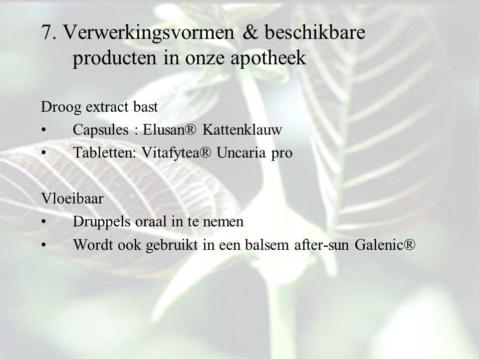 7. Verwerkingsvormen & beschikbare producten in onze apotheek