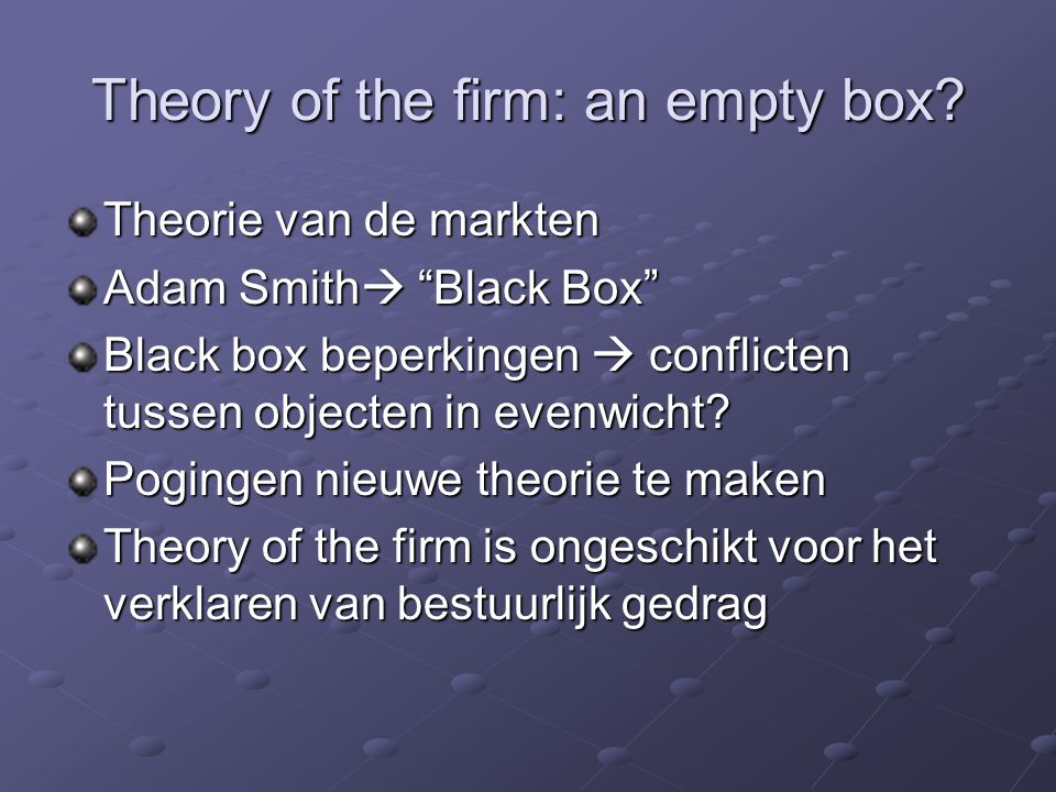 jensen meckling theory of the firm Theory of the firm: managerial behavior, agency costs and ownership structure by: michael jenson and william meckling introduction and summary.
