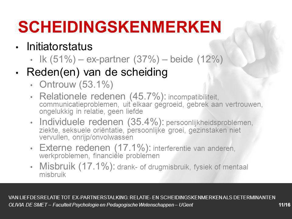 SCHEIDINGSKENMERKEN Initiatorstatus Reden(en) van de scheiding