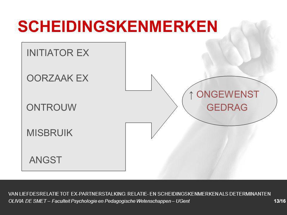 SCHEIDINGSKENMERKEN INITIATOR EX OORZAAK EX ↑ ONGEWENST ONTROUW GEDRAG