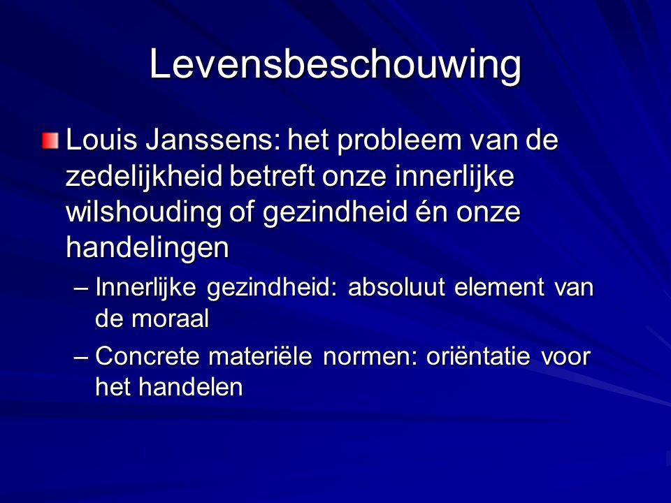 Levensbeschouwing Louis Janssens: het probleem van de zedelijkheid betreft onze innerlijke wilshouding of gezindheid én onze handelingen.