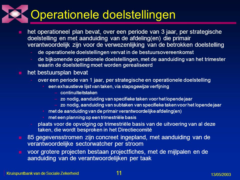 Operationele doelstellingen