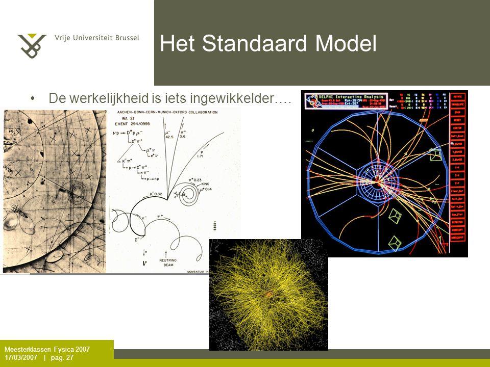 Het Standaard Model De werkelijkheid is iets ingewikkelder….
