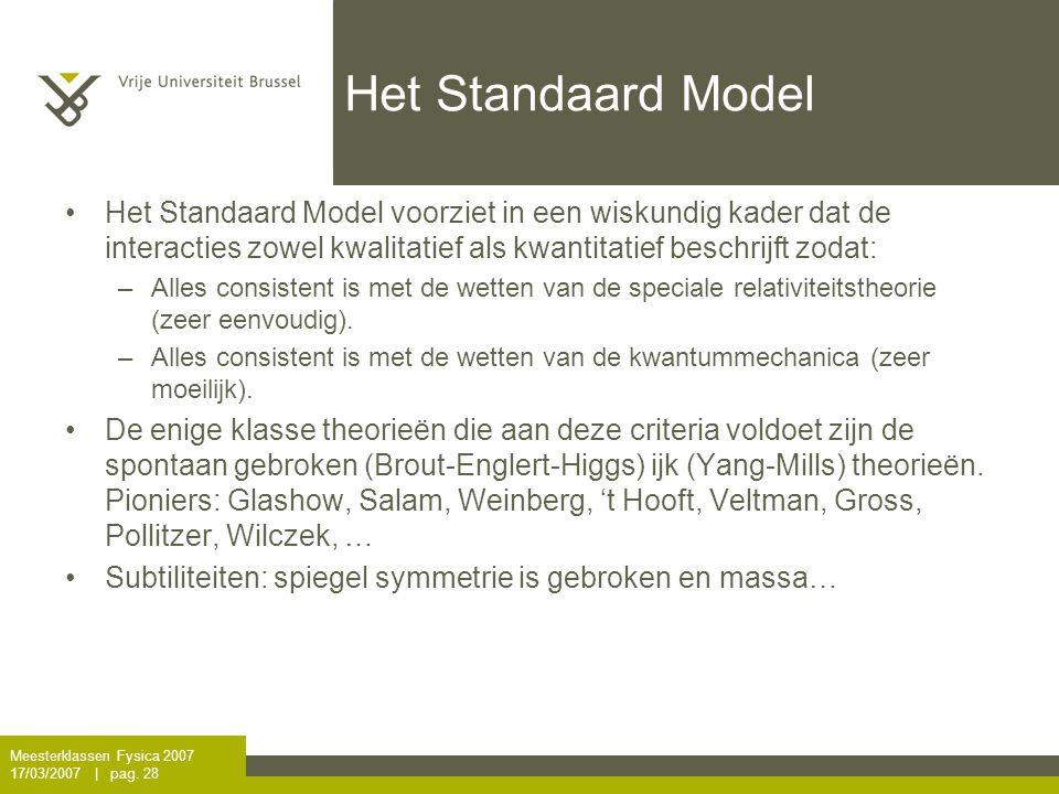 Het Standaard Model Het Standaard Model voorziet in een wiskundig kader dat de interacties zowel kwalitatief als kwantitatief beschrijft zodat: