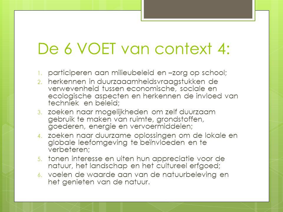 De 6 VOET van context 4: participeren aan milieubeleid en –zorg op school;