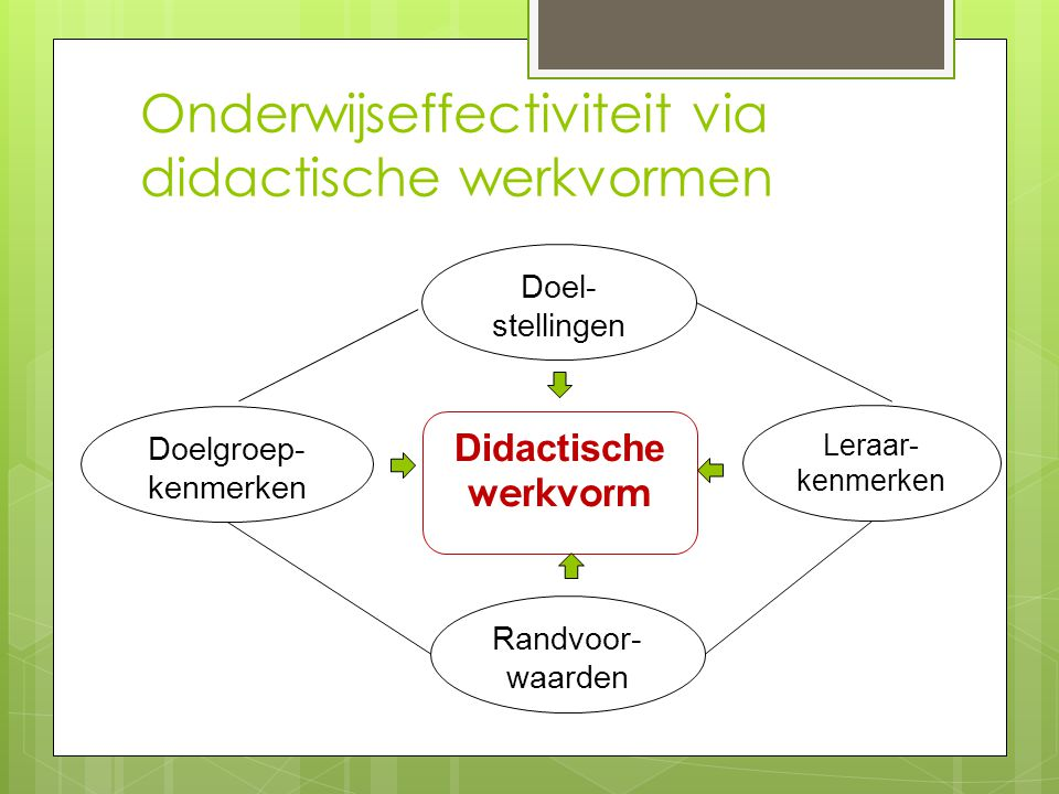 Onderwijseffectiviteit via didactische werkvormen