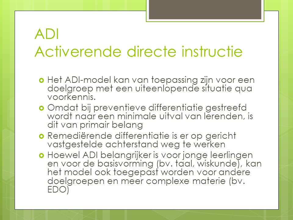 ADI Activerende directe instructie