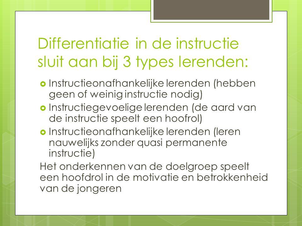 Differentiatie in de instructie sluit aan bij 3 types lerenden: