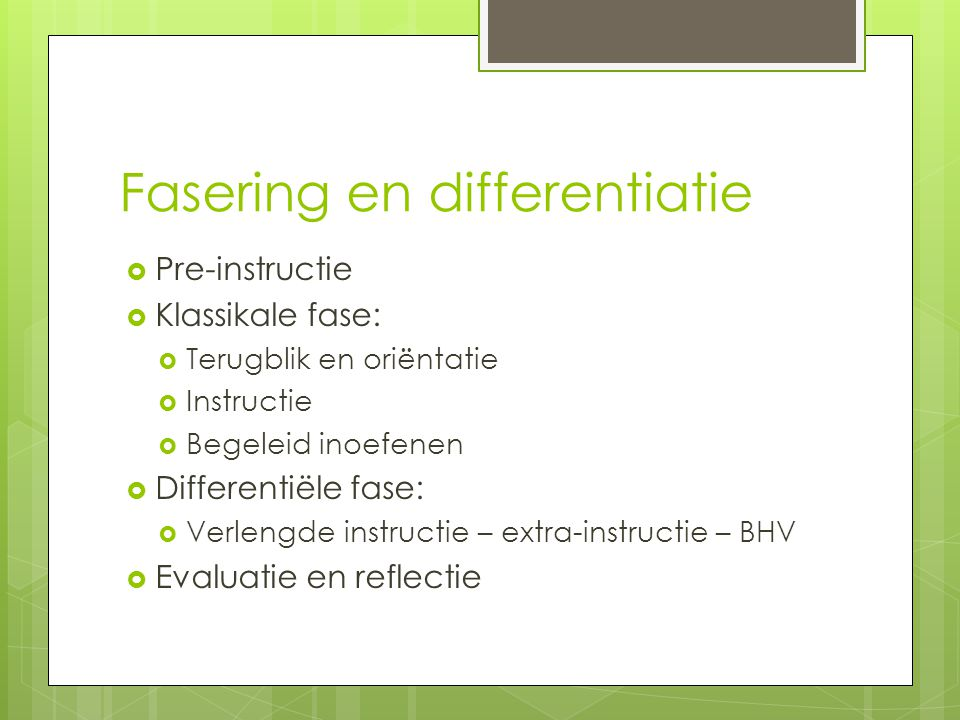 Fasering en differentiatie