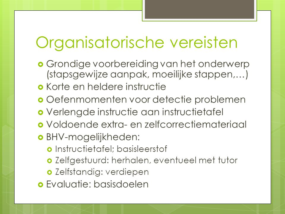 Organisatorische vereisten