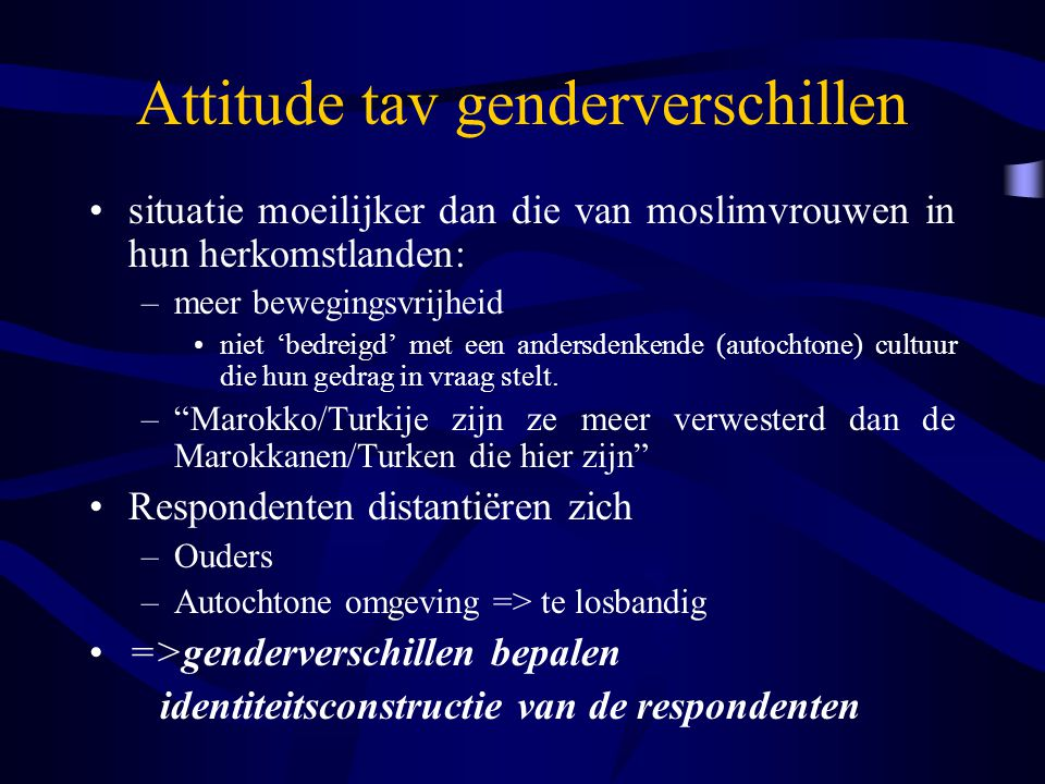 Attitude tav genderverschillen