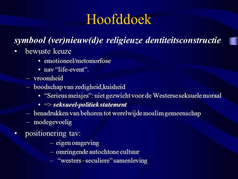 Hoofddoek symbool (ver)nieuw(d)e religieuze dentiteitsconstructie