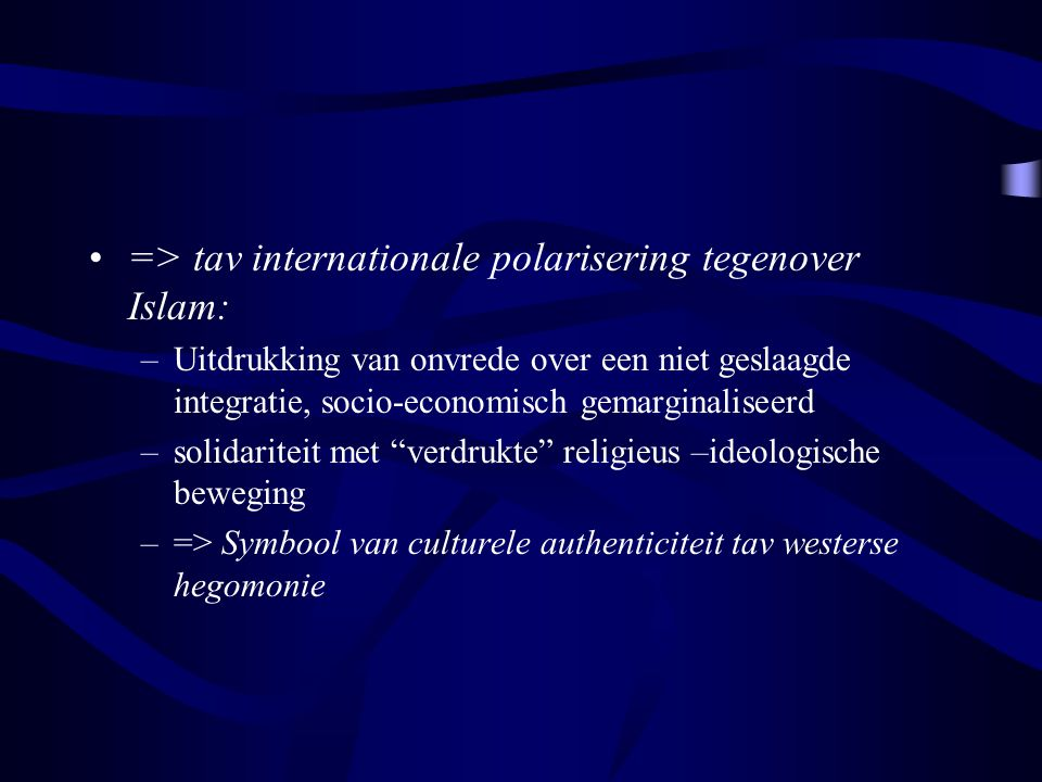 => tav internationale polarisering tegenover Islam:
