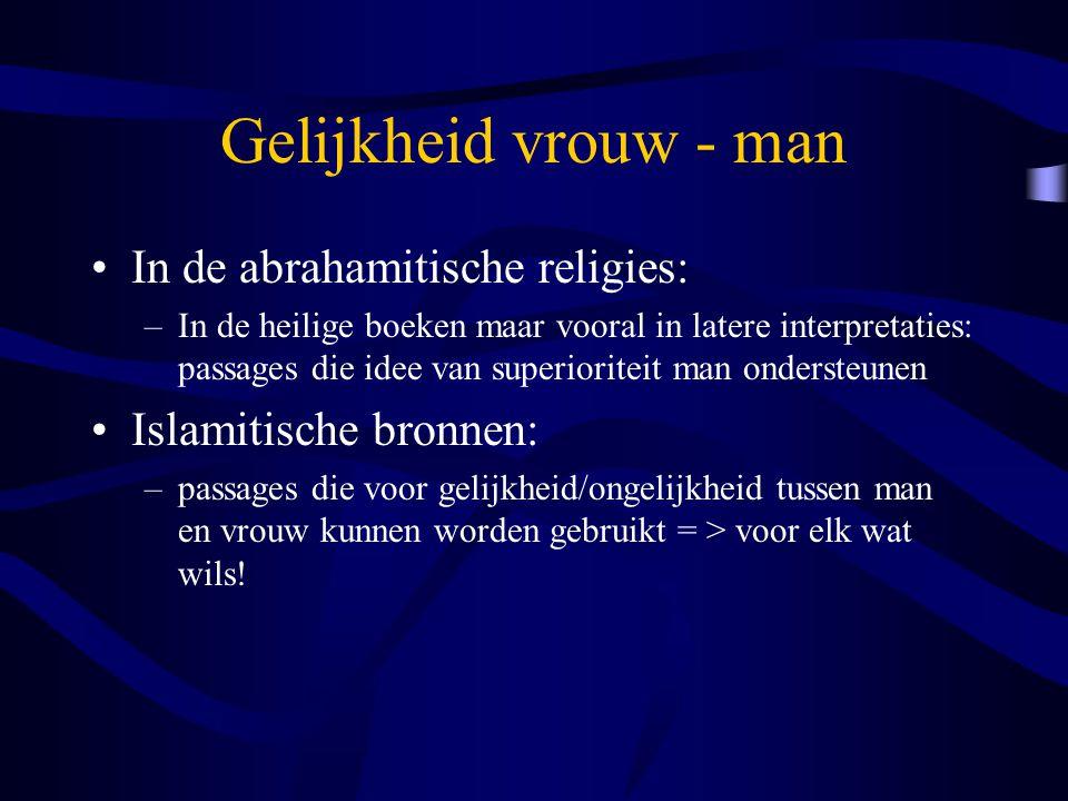 Gelijkheid vrouw - man In de abrahamitische religies: