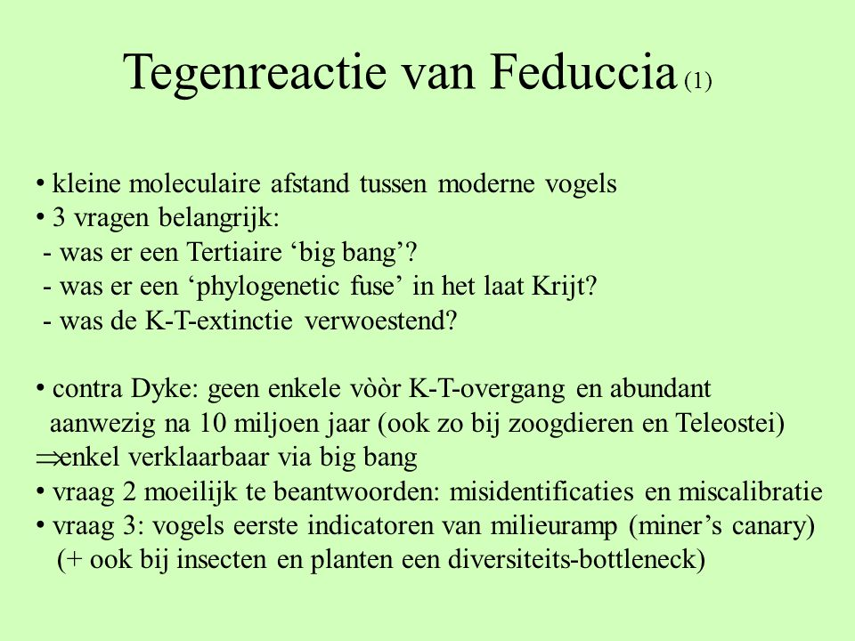 Tegenreactie van Feduccia (1)