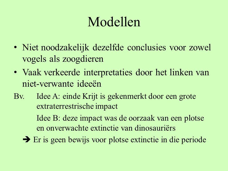 Modellen Niet noodzakelijk dezelfde conclusies voor zowel vogels als zoogdieren.