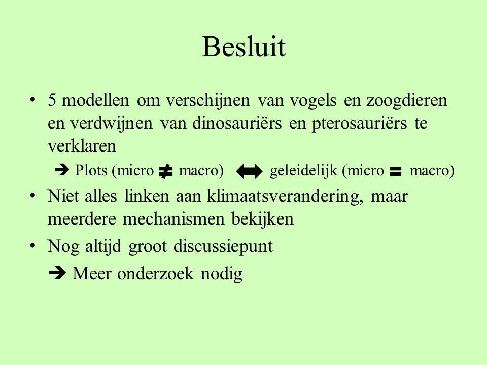 Besluit 5 modellen om verschijnen van vogels en zoogdieren en verdwijnen van dinosauriërs en pterosauriërs te verklaren.