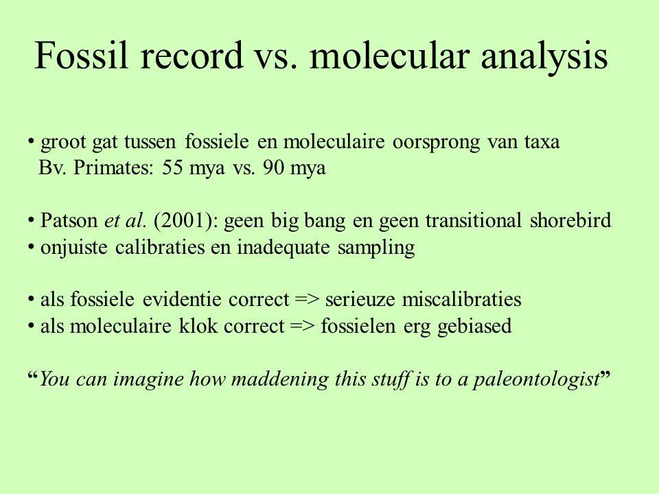 Fossil record vs. molecular analysis