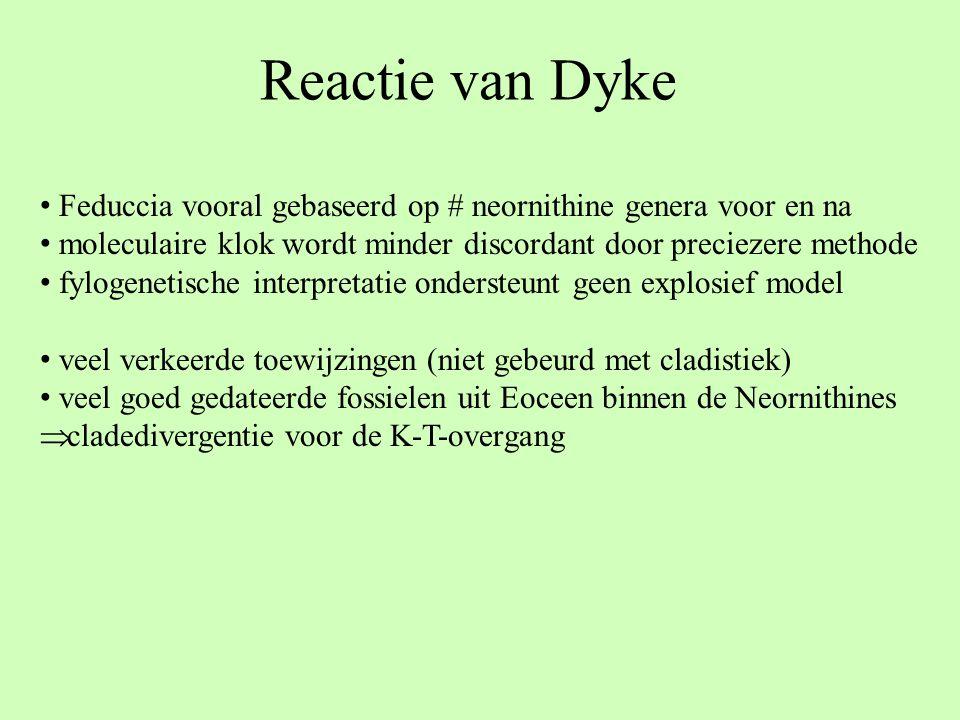 Reactie van Dyke Feduccia vooral gebaseerd op # neornithine genera voor en na. moleculaire klok wordt minder discordant door preciezere methode.