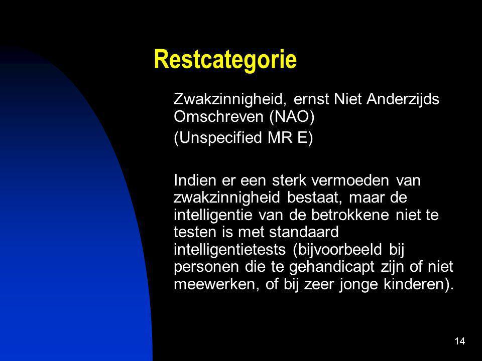 Restcategorie Zwakzinnigheid, ernst Niet Anderzijds Omschreven (NAO)