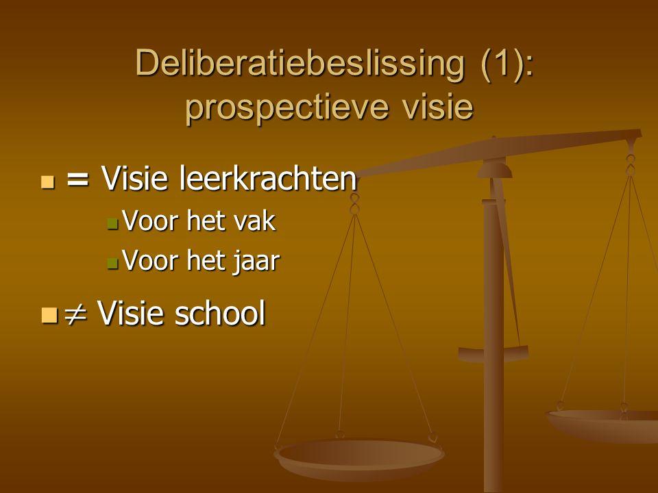 Deliberatiebeslissing (1): prospectieve visie