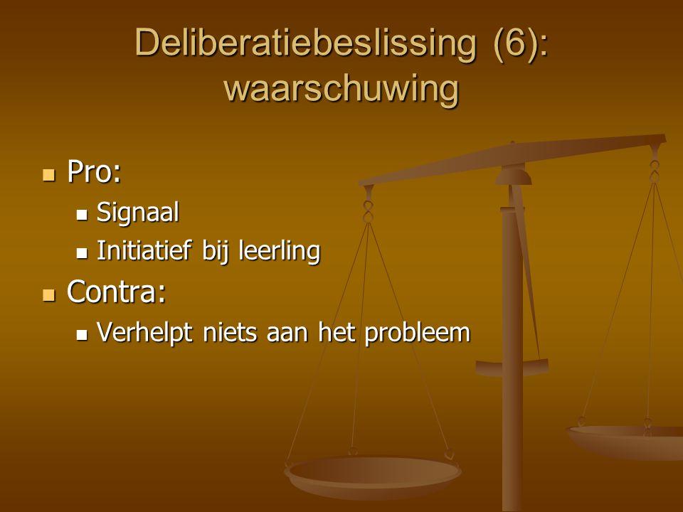 Deliberatiebeslissing (6): waarschuwing