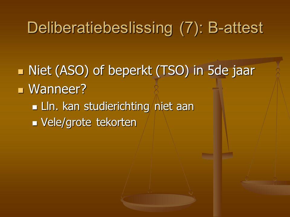 Deliberatiebeslissing (7): B-attest