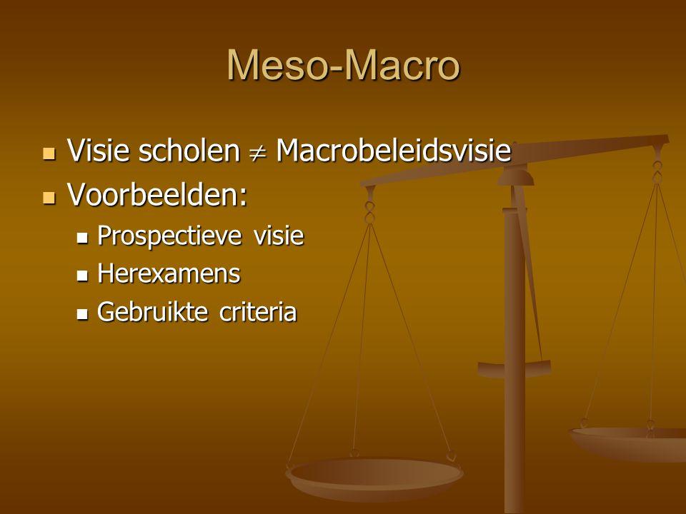 Meso-Macro Visie scholen  Macrobeleidsvisie Voorbeelden: