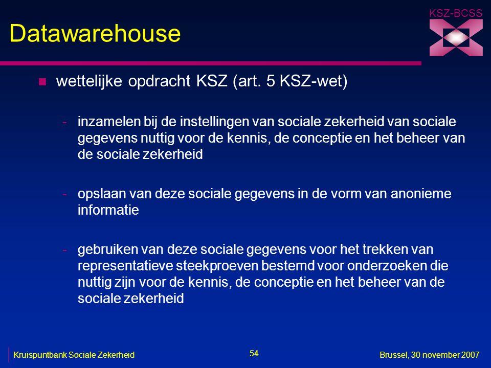 Datawarehouse wettelijke opdracht KSZ (art. 5 KSZ-wet)