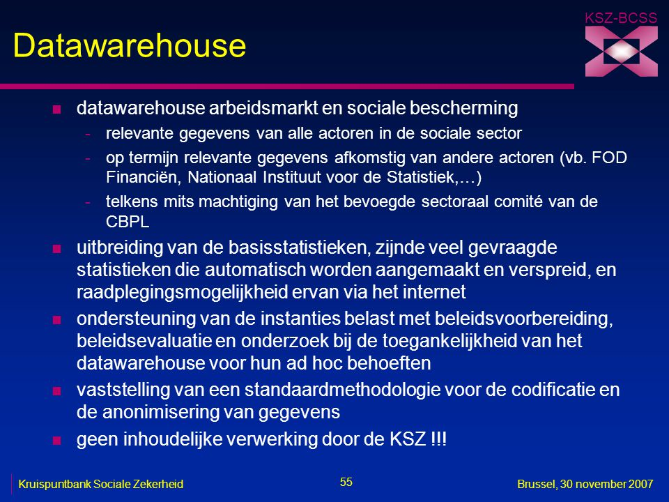Datawarehouse datawarehouse arbeidsmarkt en sociale bescherming