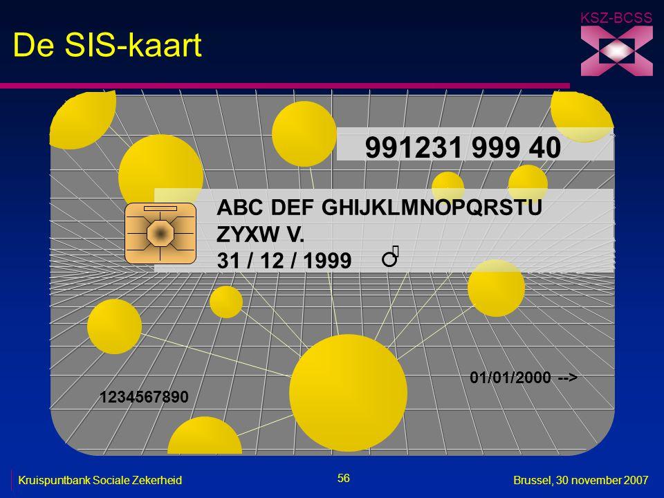 De SIS-kaart 991231 999 40 ABC DEF GHIJKLMNOPQRSTU ZYXW V.