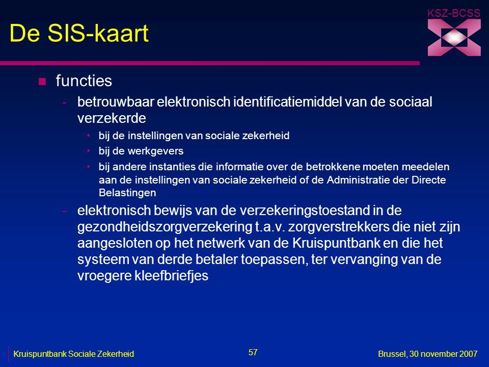 De SIS-kaart functies. betrouwbaar elektronisch identificatiemiddel van de sociaal verzekerde. bij de instellingen van sociale zekerheid.