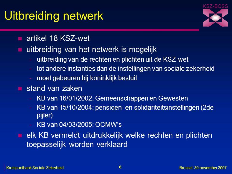 Uitbreiding netwerk artikel 18 KSZ-wet