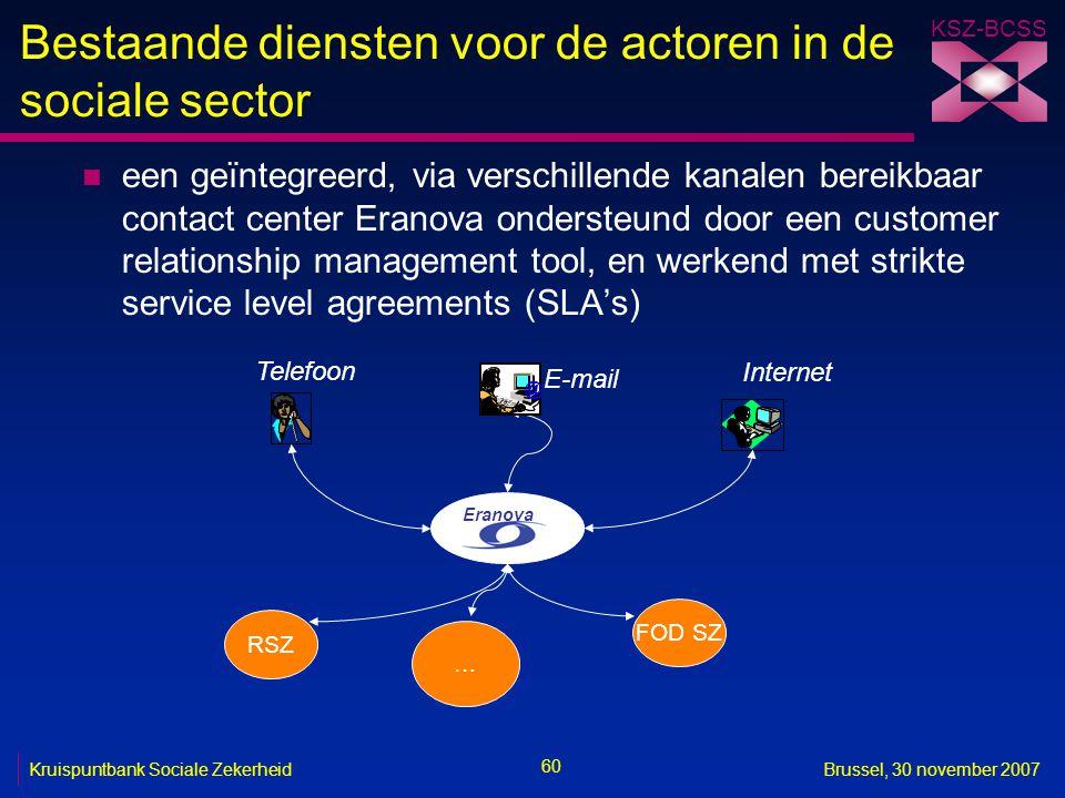 Bestaande diensten voor de actoren in de sociale sector