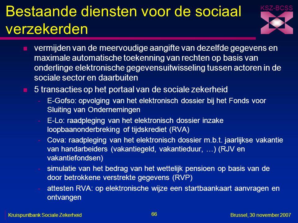 Bestaande diensten voor de sociaal verzekerden