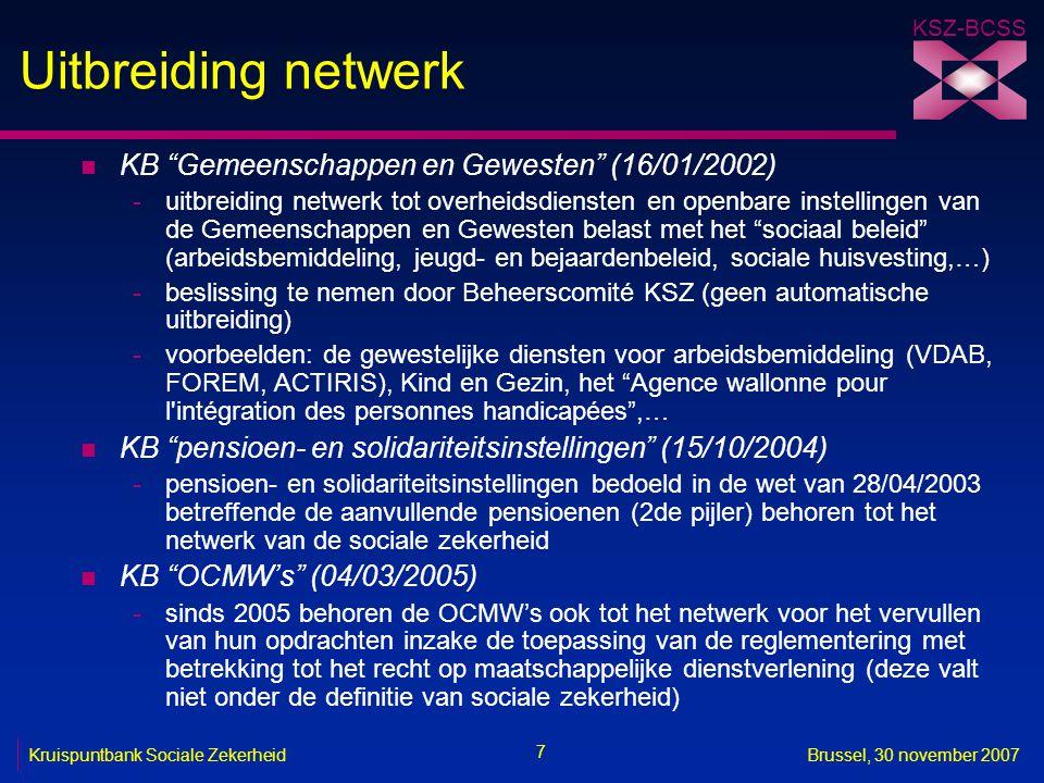 Uitbreiding netwerk KB Gemeenschappen en Gewesten (16/01/2002)