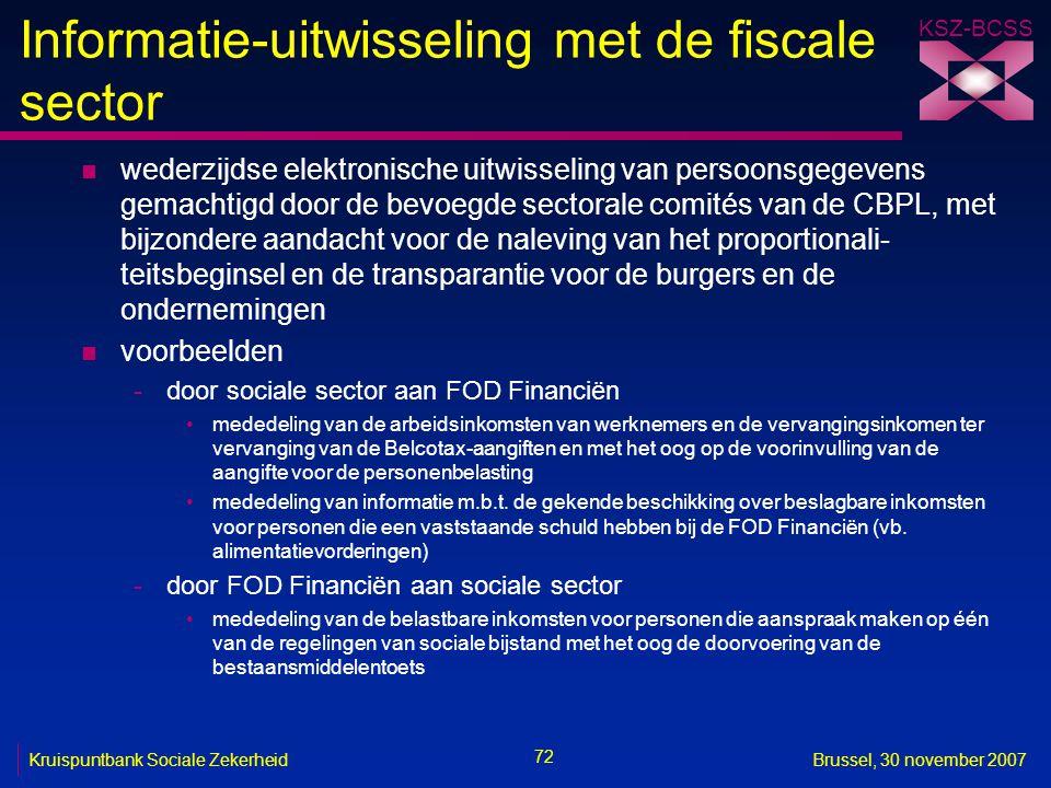Informatie-uitwisseling met de fiscale sector