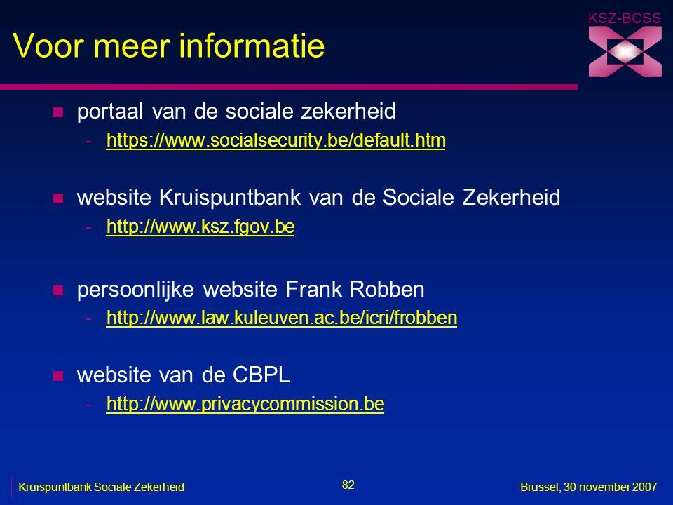 Voor meer informatie portaal van de sociale zekerheid